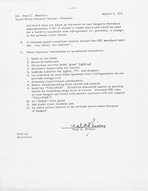 Attached Is An 1971 MEMO From Mr Prince On The Process Of Designing A Guest Room For Hotel
